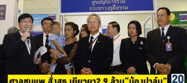 ศาลสั่งสธ.เยียวยาน้องปาล์ม2.9ล้าน