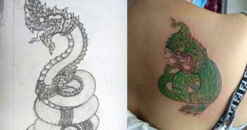 พญานาค งูเขียวหัวโม่ง